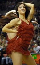 Blazers Dancers in red layered straw dress.jpg