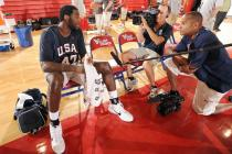 Greg Oden is interviewed at team USA mini camp.jpg