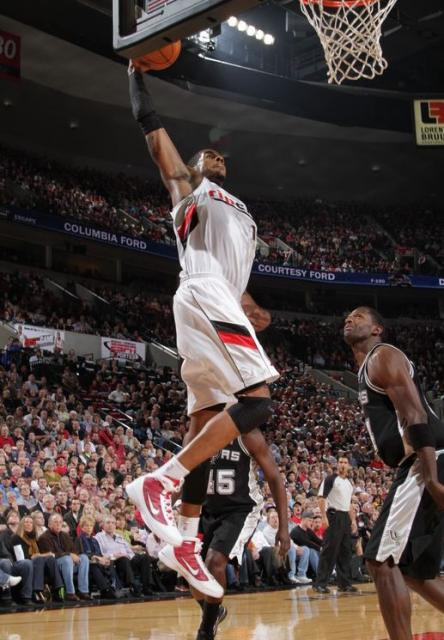 Lamarcus Aldridge in Rip City jersey goes for the one-handed power dunk against the Spurs.JPG