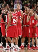 Blazers teammates in red retro jerseys.JPG