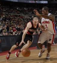 Steve Blake drives against Rodney Stuckey.JPG