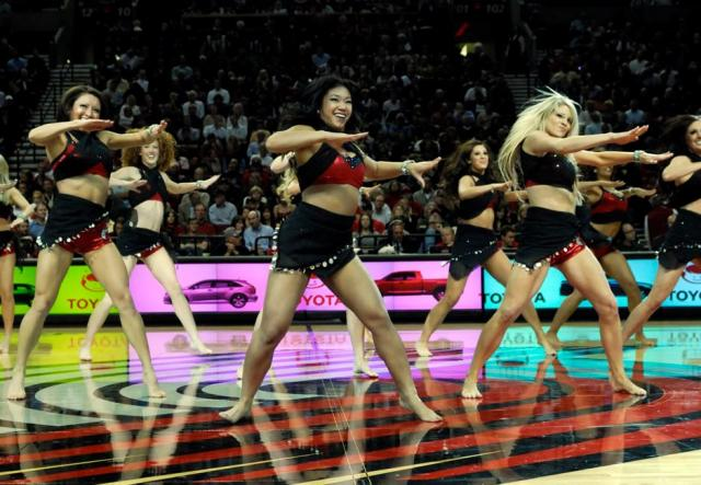 Barefooted Blazer Dancers dance at center court.JPG