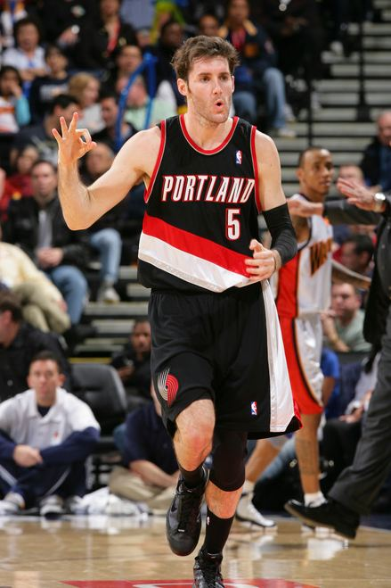 Rudy Fernandez hits a 3 vs the Warriors and celebrates.JPG
