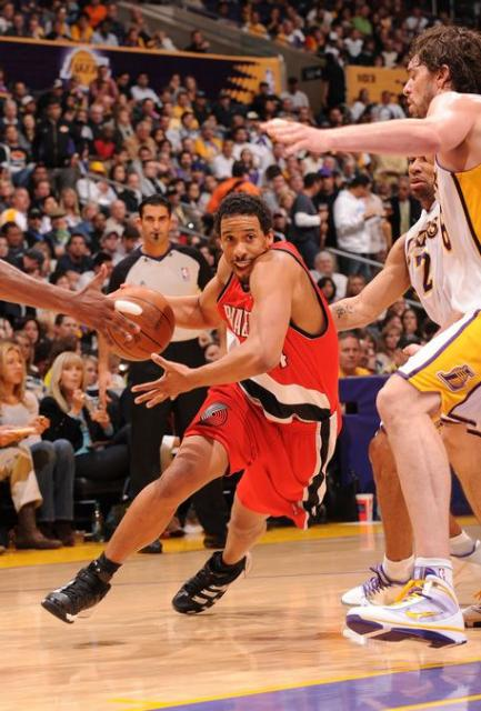 Andre Miller drives into the Lakers defense at Staples Center.JPG