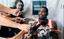 Greg Oden talks to reporters during 2010 Blazers Media Day.JPG